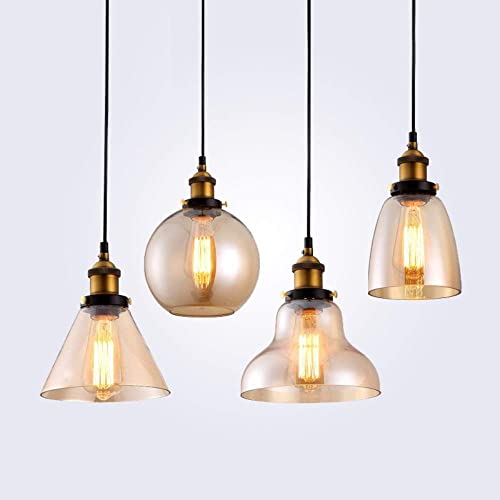 Rétro Pendentif lumières en verre transparent Abat Loft Pendentif Lampes E27 110V 220 V pour la salle à hommeger Décoration d'éclairage, C Ambre Verre,