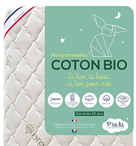 Ptit Lit - Matelas Bébé Coton Bio - 60x120 cm - 100% Coton : matière Naturelle dorigine Végétale - Sans traitement chimique - Déhoussable - Oeko Tex® - Fabrication Française