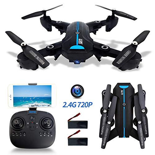 FPV Drone Foldable with HD Camera 720P for Adults, 2.4G WiFi GPS Drones with Camera Live Video and Auto Return Home Flying Toys for Beginners 120°Wide Angle RC Quadcopter Long Flight Time 40 Mins
