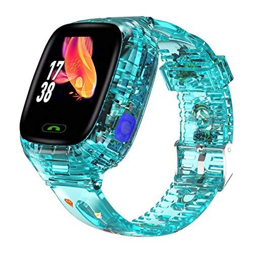 Reloj Inteligente para niños Posicionamiento Pantalla táctil Estudiante Transparente Reloj Impermeable Juguetes con rastreador LBS/GPS Llamada de Emergencia Juegos de cámara Linterna Alarma