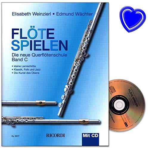 Flöte spielen Band C - neue Querflötenschule von Elisabeth Weinzierl und Edmund Wächter mit CD und bunter herzförmiger Notenklammer