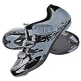 Alomejor Chaussures de Vélo de Montagne Chaussures de Cyclisme Antidérapantes Sports Micro Réglable Vélo Spinning Route Vélo Chaussure(42-Gris-Noir)