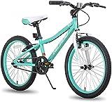 Hiland Climber - Bicicleta infantil de 20 pulgadas para niños y niñas, de 7 a 15 años, con freno en V, velocidad única, horneado no tóxico de colores