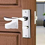 Child Proof Door Lever Lock (2 Pack), Baby Safety Door Handle Lock, Prevents Toddlers/pet from Opening Doors, Minimalist Design, Durable ABS with 3M Adhesive Backing, No Tools No Drilling Need