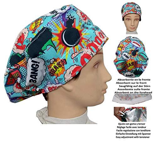 OP-Haube BOOM für langes Haar, Chirurgie, Zahnarzt, Tierarzt, Küche, Handtuch vorne, verstellbar mit Spannrolle
