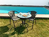 Kiefergarden Gastroset Set de table et 2chaises pour jardin et terrasse en rotin synthétique