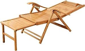 SEEKSUNG Mecedora,Ajustable de la Gravedad Cero Tumbona Tumbona portátil Silla Plegable de bambú sillones reclinables con reposacabezas y reposapiés