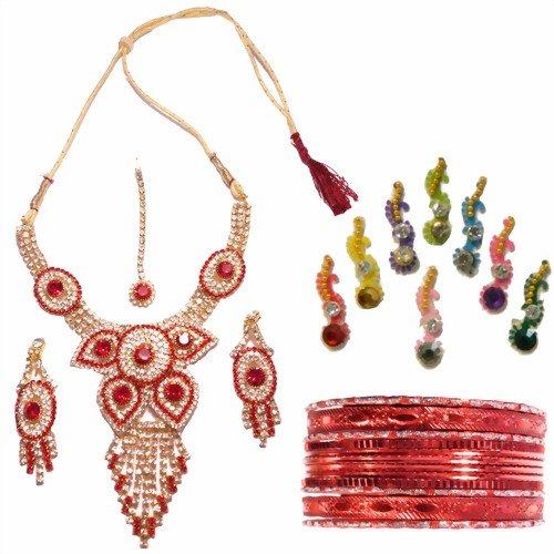 Conjunto Bollywood Malaika rojo dorado con brazaletes y bindis joyas set accesorio