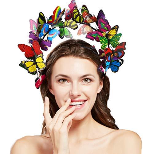 Coucoland Schmetterlings Halo Haarreif Damen Blumen Schmetterling Fascinator Stirnband Englische Tee Cocktail Party Haarband Damen Fasching Karneval Kostüm Haar Accessoires (Bunt)