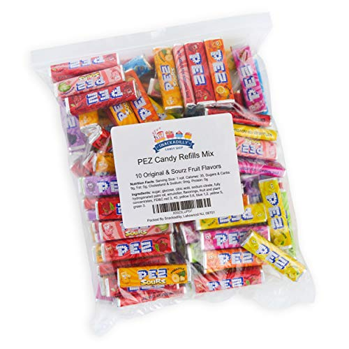 PEZ Candy Refills Mix - All 10 Original & Sourz Fruit Flavors - Bulk 2 Pound Bag - Cherry, Grape, Lemon, Orange, Raspberry, Strawberry, Sour: Green Apple, Blue Raspberry, Watermelon & Pineapple