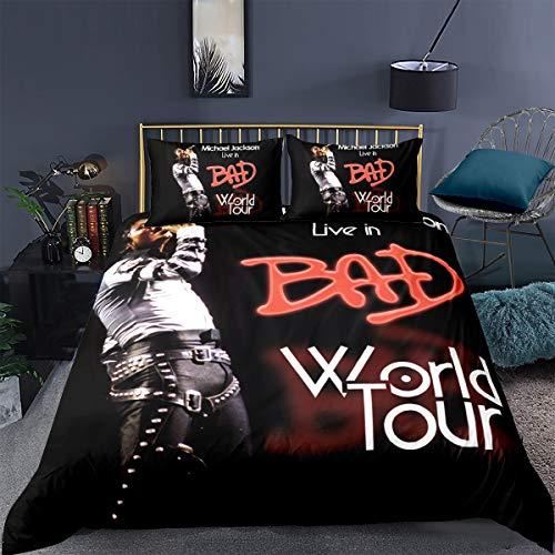Ruiqieor-Bettwäsche Set,Bettbezüge 135x200 cm,3D-Digitaldruck,Für Fans Von Michael Jacksons Muster,Mikrofaser,Kissenbezug 80 X 80 cm (#06,135x200cm)