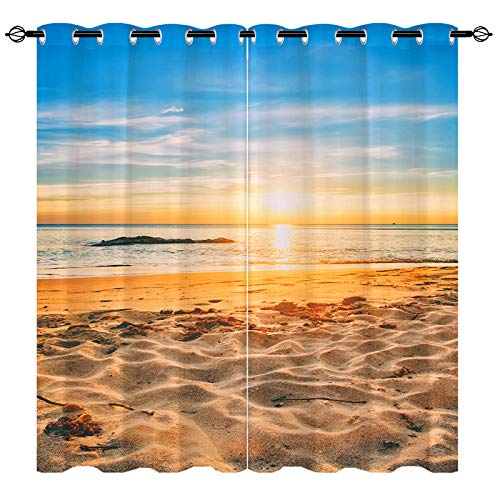 ANHOPE Beach Curtains, Semi Blackout Curtains with HD Printed Seaside Beach, Tropical Ocean, Blue Sky and Sunset Pattern, Grommet Curtains for Living Room Bedroom, 2 Panels, 52 X 63 Inch, Blue Yellow