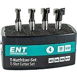 ENT 09045 Set di frese per scanalatura a T HW in 4 pezzi HW ottimizzato per viti a testa esagonale M5 M6 M8 M8 M10, HW (HM), codolo (S) 8 mm