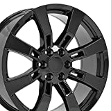 OE Wheels LLC 22 Inch Fits Chevy Silverado Tahoe GMC Sierra Yukon Cadillac Escalade Style CA82 22x9 Rims Gloss Black SET