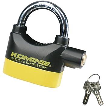 コミネ(KOMINE) バイク セキュリティロック アラームパッドロック ブラック/イエロー フリー (mm:W93×H98×D32) 09-120 LK-120
