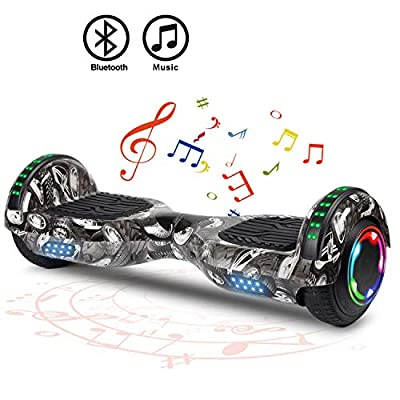 """FLYING-ANT Hoverboard Self Balancing Scooters 6.5"""" Flash Two-Wheel Self Balancing Hoverboard with Bluetooth Speaker and LED Lights for Kids and Adults Gift(Graffiti Black)"""