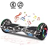 FLYING-ANT Hoverboard Self Balancing Scooters 6.5' Flash Two-Wheel Self Balancing Hoverboard with Bluetooth Speaker and LED Lights for Kids and Adults Gift(Graffiti Black)