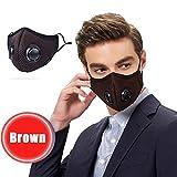 WKSNI Mund Maske Anti-Verschmutzungsfilter Atemmaske Verstellbares Nasenstück Waschbar Atemschutzmaske Staub Gesichtsmaske, Kaffee