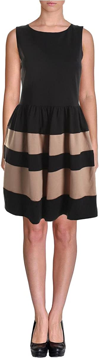 Bar III Women's Colorblock Hem Fit and Flare Dress