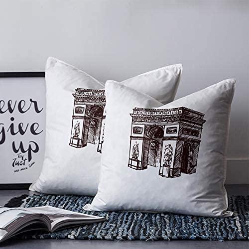 Historical Sites - Fundas de cojín cuadradas suaves y acogedoras para coche, sofá, cama, salón, decoración al aire libre, 45,7 x 45,7 cm, ilustraciones de Paris Arc de Triomphe