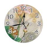 Eileen Max Reloj de Pared Redondo Verano Lotus Home Office School Arte Decorativo Reloj