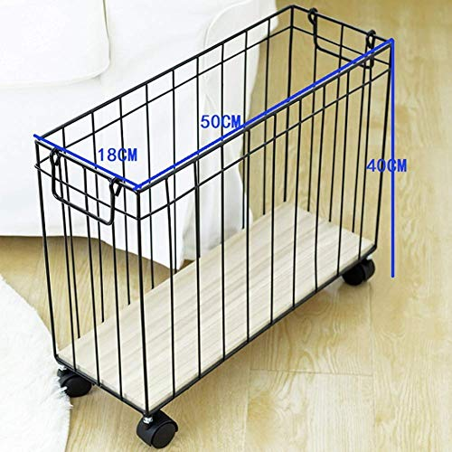 QTCD Laundry Basket with Wheels Laundry Hamper Thin Rectangle Hampers for Laundry with Handle for Magazine Clothes Books, Black fanghua