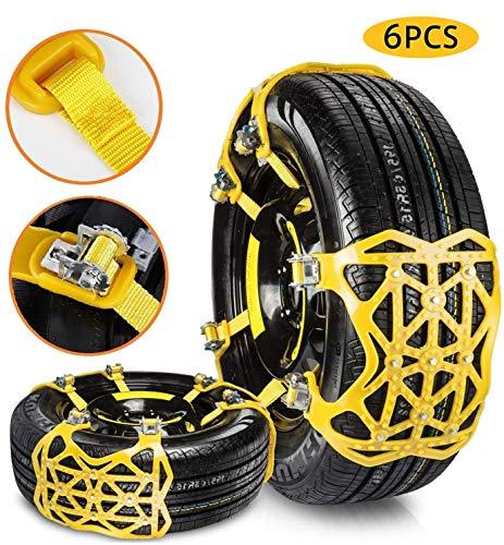 HAHMHO Automobil Schneeketten Reifen Schneekette, Schnee Reifen Kette, Universal Schneeketten Gelb Einfach zu montieren Reifen Schneekette für Jede Reifenbreite 165-275mm 6-teiliges Set