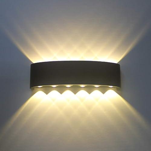 Applique Murale Interieur Noire LED 12W Lampe Murale Moderne, Applique Luminaire En Aluminium, Up Down Spot Lumière N...