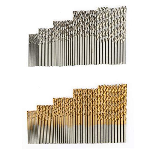 Kit de brocas, broca recubierta de titanio, 1 mm, 1,5 mm, 2 mm, 2,5 mm, broca helicoidal resistente al desgaste de alta dureza de 3 mm, mejoras para el hogar para bricolaje