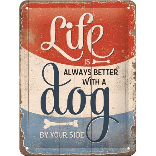 Nostalgic-Art Retro Blechschild PfotenSchild – Life Better with a Dog – Geschenk-Idee für Hundebesitzer, aus Metall, Vintage-Dekoration, 15 x 20 cm