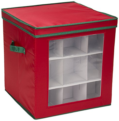 Household Essentials 552RED Medium Christmas Tree Ornament Storage Box | Stores Up to 27 Xmas Ornaments | Red Bin with Green Trim