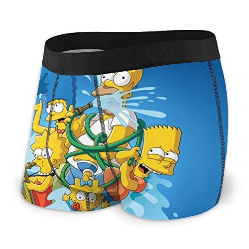 LZMM Simpson Cartoon Homer Herren Unterwäsche mit flachem Winkel, atmungsaktiver Boxergürtel mit freiliegendem BundKomfort Schnelltrocknend