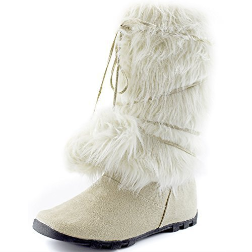 DailyShoes Women's Snow Boots Winter Warm Mid Calf Knee-high Trendy Warmer-02 Mukluk Faux Fur Round Toe Ankle High Bootie Warmer-01 Ice Suede 7.5