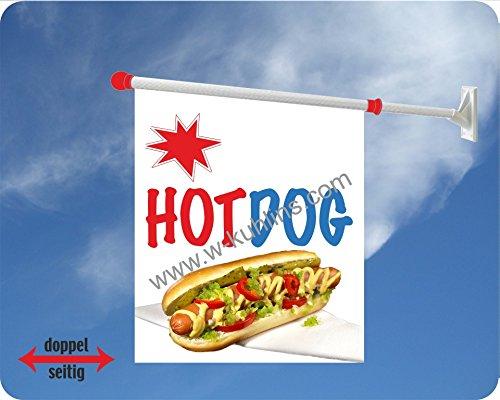 Werbeflagge (Fahne mit über 50 Varianten, Text und Bild, z.B. Eis, Döner, Kaffee, Crepes, Waffeln, Pommes uvm.) Ideal für Kiosk, Restaurant oder Kirmes, weiß (Hot Dog)
