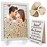 LotFancy Wedding Guest Book Alternative, Drop Top Frame, Heart Drop Guest Book with Stand, 85 Wooden Hearts, 2 Pens, Rustic Wedding Reception Decoration and Gift for Baby Shower, Birthday, Graduation