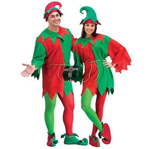 EraSpooky Adulto Disfraz de Navidad Elfo Traje Vestido de Fantasía Traje de Navidad