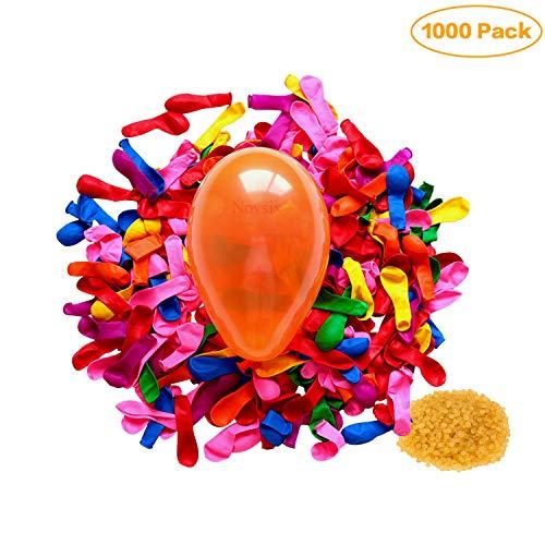Novsix 1000 Pack Globos con Banda de Goma de Sellado, Globos de Bomba de Agua de látex Kits de Recarga de Juegos de Lucha, Decoración de Fiesta Interior y Exterior, Globos pequeños