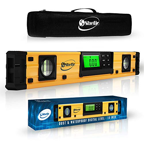 Digital Smart Level Tool - 18 Inch Magnetic Torpedo Level and Protractor - Master Precision - IP54 Dustproof and Waterproof - Includes: 2 AAA Batteries and Carrying Case