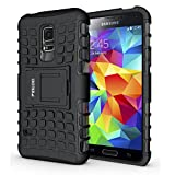 PEGOO Coque Galaxy S5 Mini, Antichoc Armure Housse Etui avec Support Cover Case pour Samsung Galaxy S5 Mini (Noir)