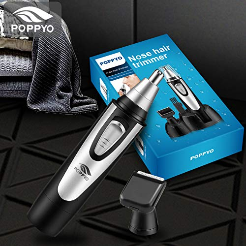 Nose Hair Trimmer for Men Women, POPPYO 2019 Professional Nose, Ear Hair Trimmer Clipper, Waterproof Stainless Steel Blade, Wet/Dry, Battery-Operated, All in 1 Hair Remover Set