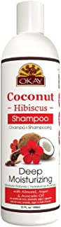 OKAY | Coconut Hibiscus Shampoo | For All Hair Types & Textures | Restore, Rehydrate, Strengthen Hair | With Almond, Argan & Avocado Oil | Free of Parabens, Silicones, Sulfates | 12. oz