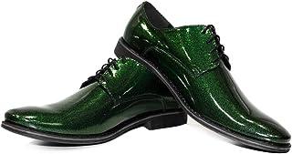 Modello Greenadiero - Cuero Italiano Hecho A Mano Hombre Piel Color Verde Zapatos Vestir Oxfords - Cuero Charol - Encaje