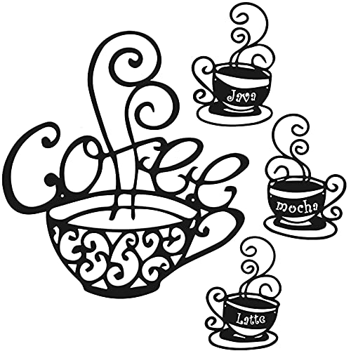 Hotop 4 Pieces Metal Coffee Cup Wall Decor Wire Coffee Sign Cafe Themed Wall Art Vintage Coffee Decorations for Kitchen,Coffee Shop,Restaurant,Home (Black)