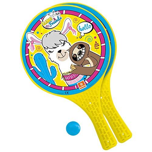 Mondo Toys – Llama & Friends – 2 Raquetas de plástico/Bola de Goma – Juego de Playa para niños y adultos-15039 (15039)