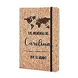 Cuaderno de viaje Personalizado con Nombre - Bonito Cuaderno viajero Original Corcho Natural Diario Anotaciones Bloc de Notas...