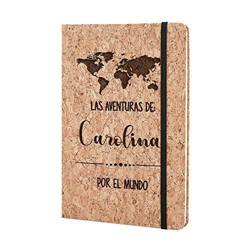 Cuaderno de viaje Personalizado con Nombre - Bonito Cuaderno viajero Original Corcho Natural Diario Anotaciones Bloc de Notas A5