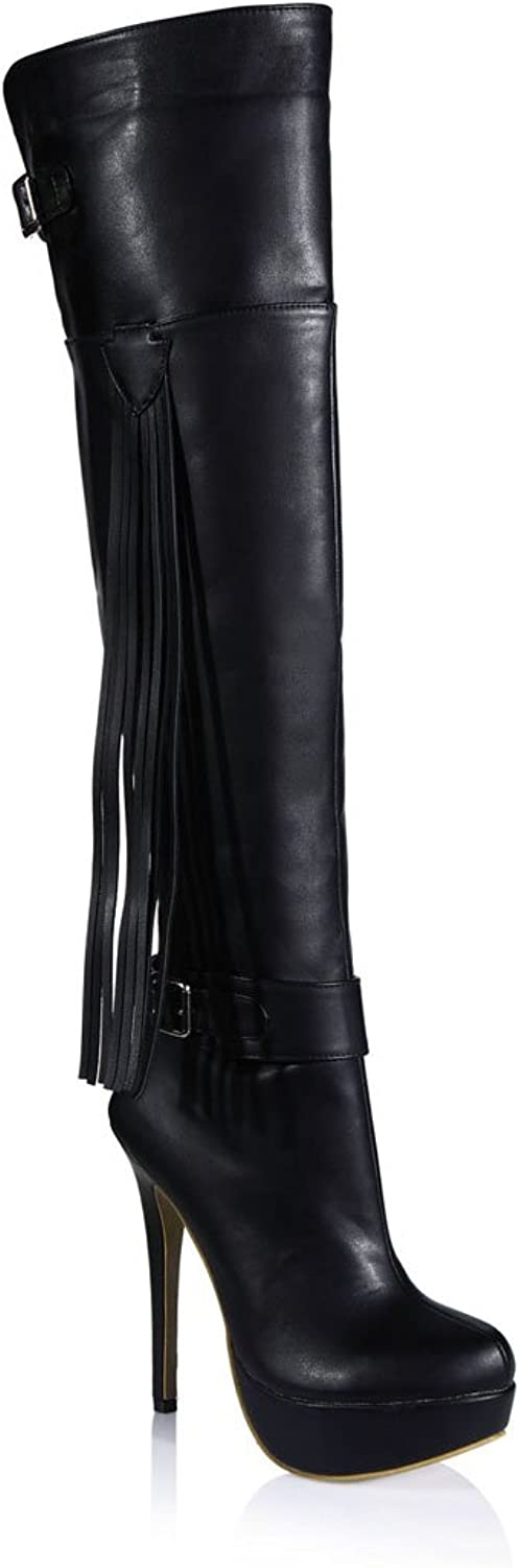 CHMILE CHAU Women Over-The-Knee Boots Stiletto Platform Buckle Tassel High Heel Thigh High Boots
