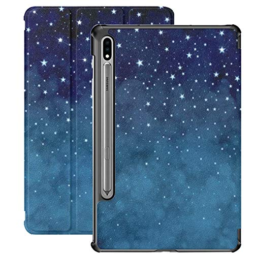Samsung Galaxy S7 plus Custodia Vector Starry Night Sky Background Custodia in pelle Pu per Samsung Galaxy Tab S7 Plus 12,4 pollici 2020, Samsung Galaxy Tab S7 plus Custodia Cover con auto-wake/sle