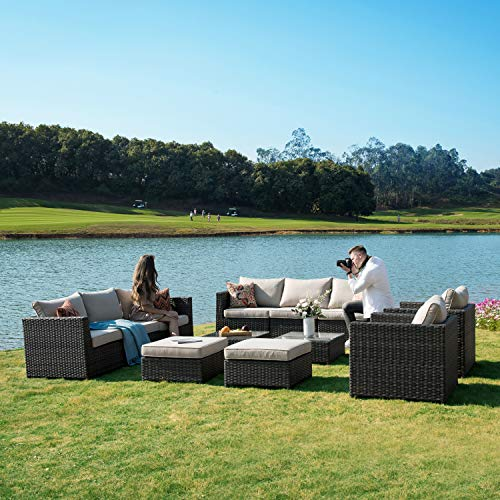 ovios Patio Furniture Set, Big Size Outdoor Furniture Sets,PE Rattan Wicker sectional with Pillows and Furniture Cover, No Assembly Required (Grey-Beige)