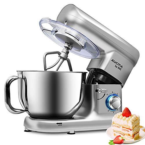 Küchenmaschine Rührmaschinen 1500 W mit 5,5L Edelstahlschüssel Elektrischer Mixer mit Beater Knethaken Schneebesen Spritzschutz, 6 Geschwindigkeiten Geräuschlos